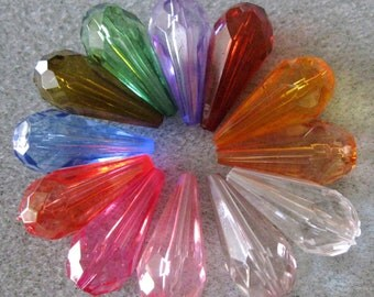 Transparent Faceted Lucite Acrylic Drop Bead Choose Your Colors Mix 24mm x11mm 831