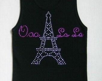 Ooo La La Rhinestone Tank Tshirt, Eiffel Tower, Rhinestones, Eiffel Tower Tshirt