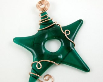 Glass Star Suncatcher Emerald Green Fused Glass