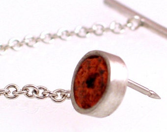 Sterling Silver Tie Tac with Brick Inlay