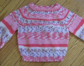 lightweight fair isle and stripe hand knit baby sweater - 0 - 6 months