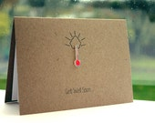 Handmade Get Well Card  //  Get Well Soon Card  //  Feel Better Card  //  Red Thermometer