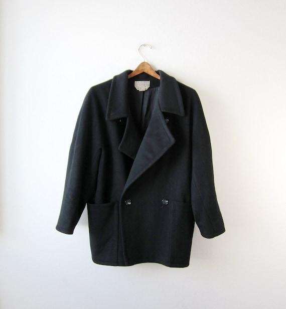 1980s Black Oversized Coat Size Medium