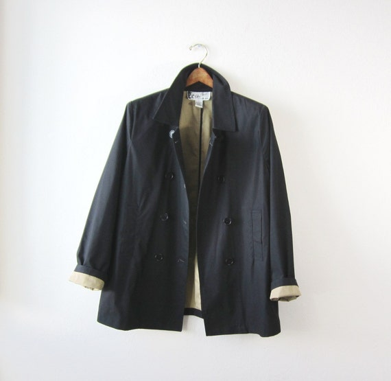 PRICE REDUCED - Vintage Oleg Cassini Black Trench Coat Size Medium to Large