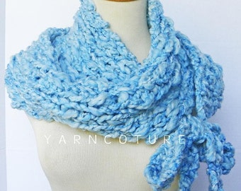 The STATE STREET Wrap N Tie Cowl - Fall, Winter Fashion - Oversized Cowl - Sky Blue