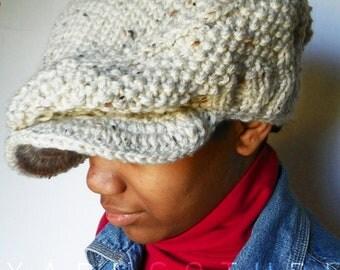 ROO-DEE The Oversized Knit Newsie / Jeff Cap - Linen Tweed w/Satin Lining Option