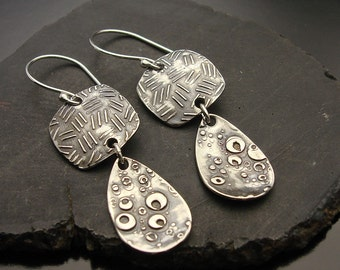 One Two -Sterling Silver Handmade Earrings - Ready to Ship