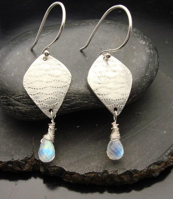 Moonwalk - Sterling Silver and Moonstone Dangle Earrings