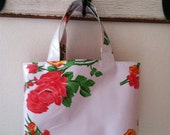 Beth's Small White Vintage Rose Oilcloth Market Tote Bag