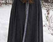 Custom Three Quarter Twill Cloak with Trim SCA Renaissance Medieval Pennsic