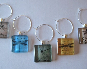 Dragonfly Glass Tile Wine Charms Set of 5