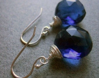 Kyanite colored earrings, Kyanite blue quartz earrings