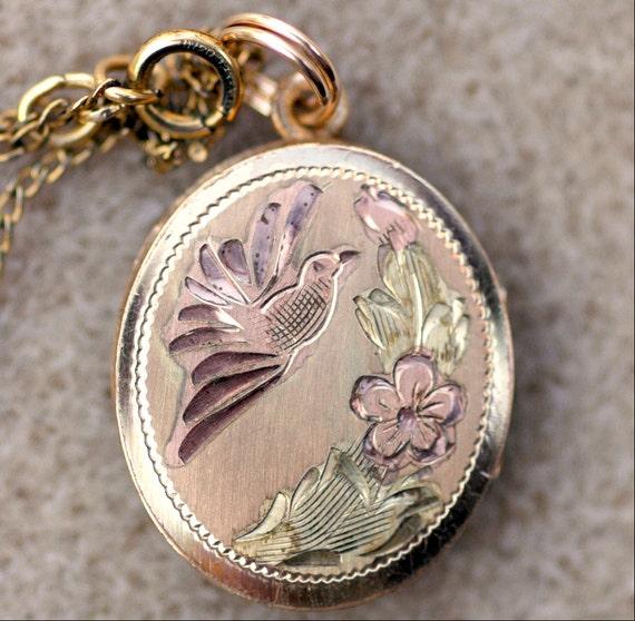 Vintage Etched Bird Locket Necklace Tri Toned