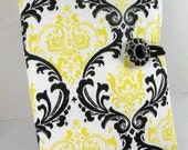 Organizer Notepad Clutch MADISON Damask in Yellow-Black & White-- Paper and Pen Included