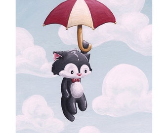 CHANGES - Flying Cat with Umbrella 8x10 Print by Geri Shields