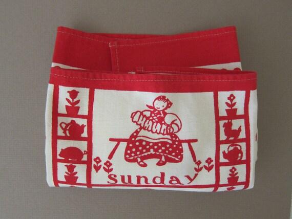Swedish Maid Vtg Tea Dish Kitchen Towel, Happy Daily Chores, MINT
