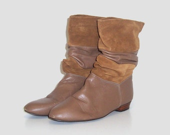 1970s shoes / vintage 70s boots / leather / slouchy / 7.5 / Suede Boho Boots