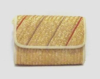 1970s purse / vintage 70s purse / rattan / Boho Chic Natural Purse