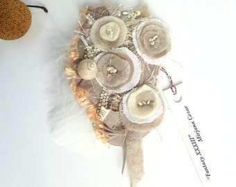 Fantasy XXXIII pin, fiber art tan floral brooch, Coachella, romantic, bohemian, hand stitched, eco friendly, pin-on corsage