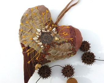Brown heart II large fiber art ornament in brown as featured in Sew Somerset winter 2014, home decor, fabric collage, hand embroidery