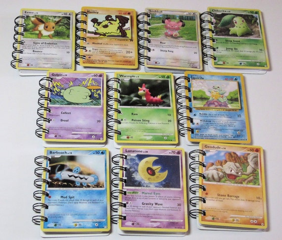 10 POKEMON Trading Cards recycled into mini Notebooks - Bulk Price