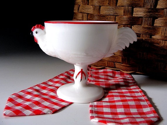Rooster Egg Cup Westmoreland White Milk Glass Chicken Red Trim Eggcup Vintage 1950s