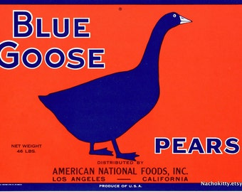 1940s Blue Goose Pear Fruit Label NMint Condition Ready to Frame