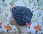 Crochet Slouchy Hat in Lovely Dark Grey Colour in 100% Pure New Wool (Ready to ship)