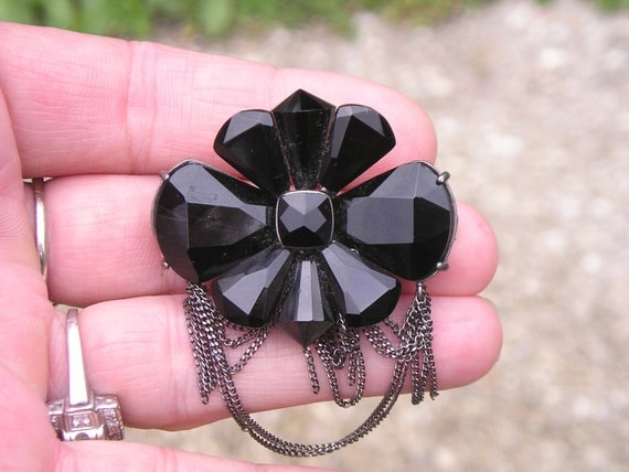 Lovely Carved Black Glass and Chain drop Pin Signed KC Kenneth Cole