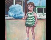 Cotton Candy Print, Boardwalk, Summer Themed Art, 1960s Nostalgia, Beach, Carnival, Cats Eye Glasses, Summer Vacation, Blue, Green.