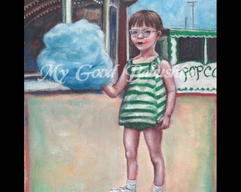 Cotton Candy Print, Boardwalk, Summer Themed Art, 1960s Nostalgia, Beach, Carnival, Cats Eye Glasses, Summer Vacation, Blue, Green.