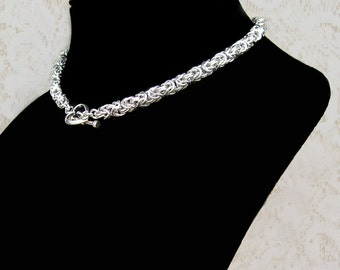 Byzantine Chainmaille Choker with Heart Charm Clasp, heart necklace, love necklace, heart jewelry, love charm, sweetheart necklace