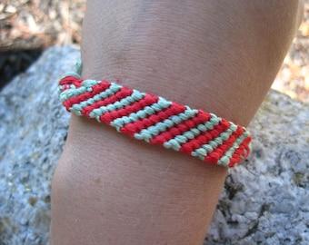 Friendship bracelet- teal & scarlet. candy stripe kind