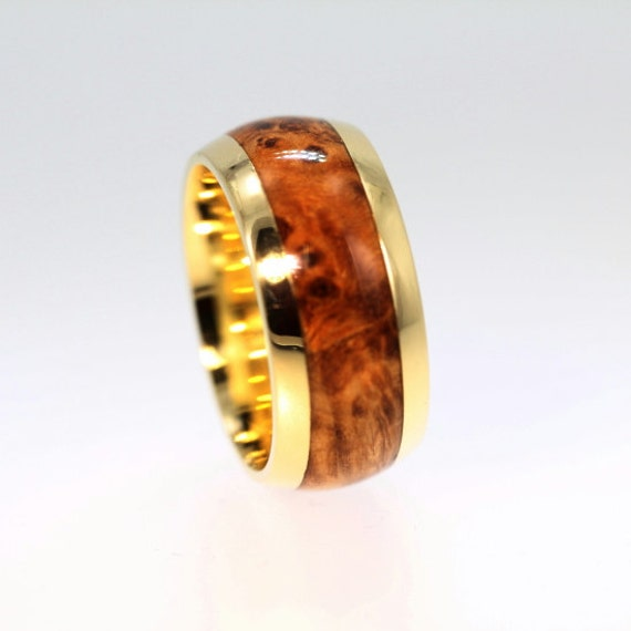 Male Wedding Bands Wood Inlay: Black Ash Burl Wood Inlay Men's Wedding Ring By Jewelrybyjohan