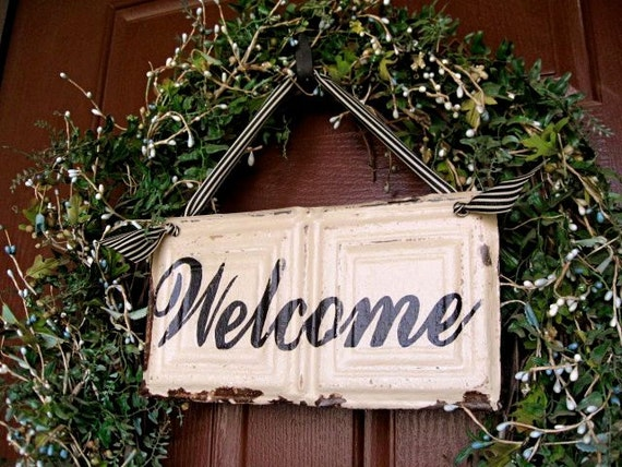 Welcome Sign made with Antique Ceiling Tin Tile
