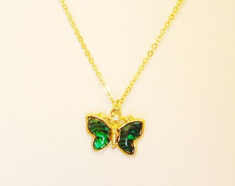 vintage faux malachite inlay golden butterfly necklace