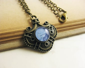Blue Vintage Map Necklace - Geography Antique Bronze Stamping Pendant - resin necklace - antique bronze chain