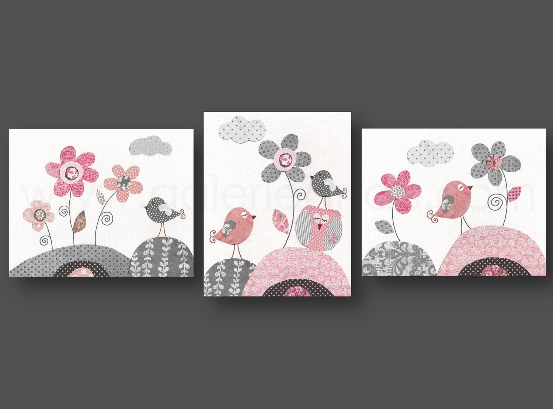 pink gray nursery art baby girl nursery decor kids wall art. Black Bedroom Furniture Sets. Home Design Ideas