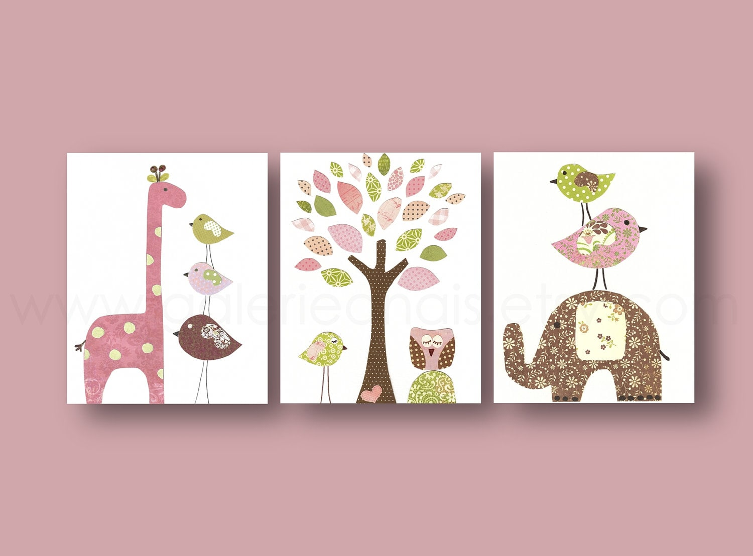Nursery wall art girl baby nursery decor kids art tree owl for Room wall decor