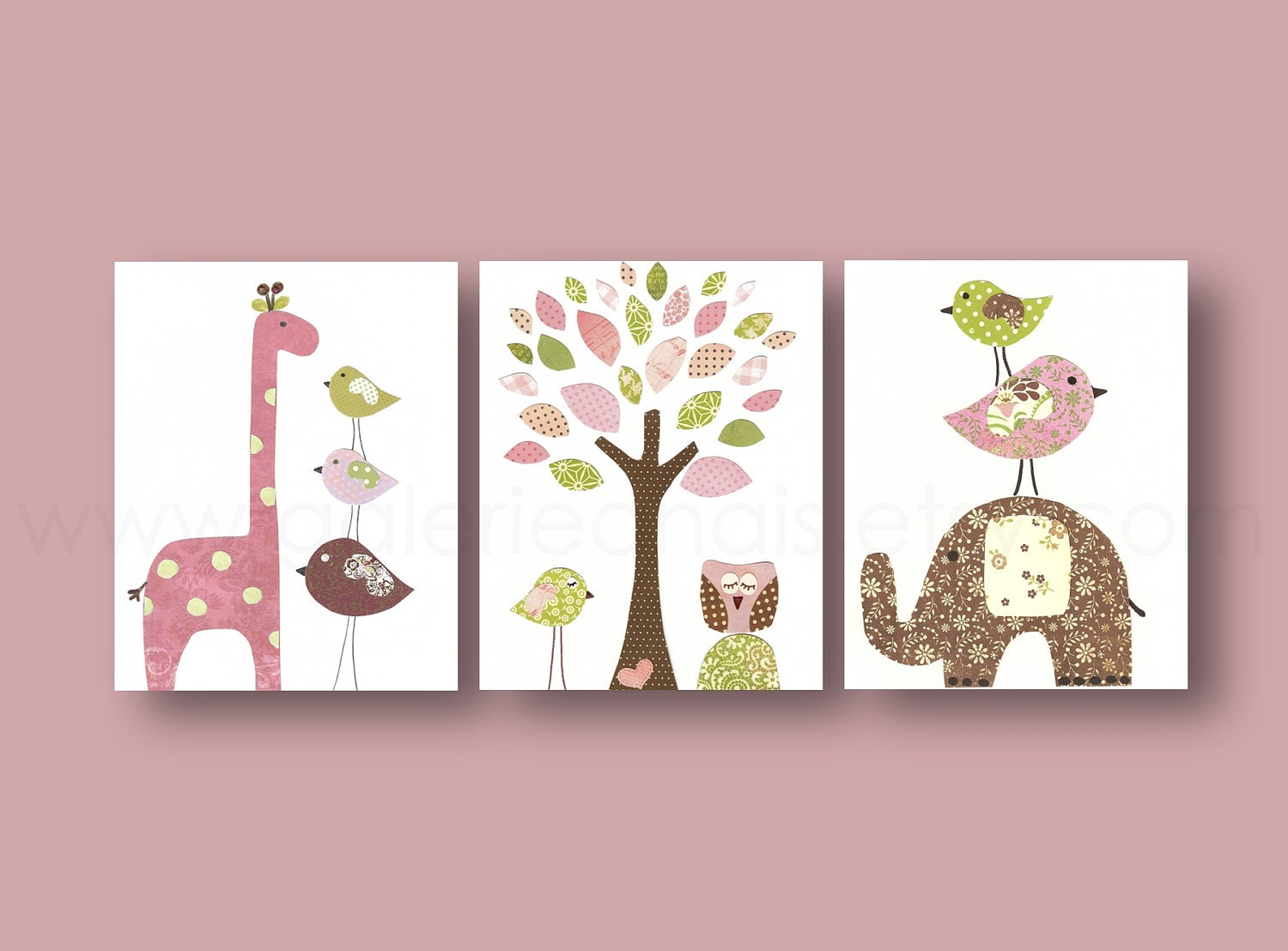 Nursery wall art girl baby nursery decor kids art tree owl for Nursery wall art