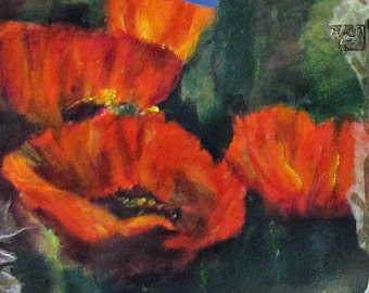Art Poppies in the Abstract Reproduction Print on Canvass