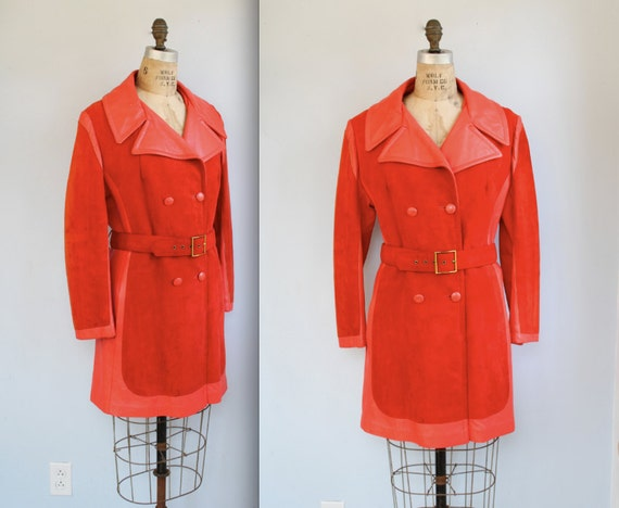 vintage 1970s suede coat. Pumpkin orange. Med / Large / Mod retro / the EXTRA SPICY trench coat