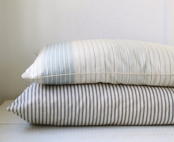 vintage 1930s farmhouse feather pillow with blue striped ticking / primitive rustic