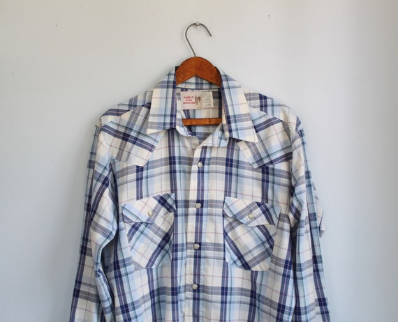 vintage 1980s men's western shirt. L/XL. Saddle King plaid, pearl snaps / Country Western Rustic / the DUDE'S Dinner shirt