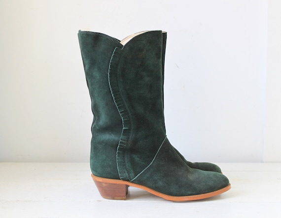 vintage 1970s suede boots. 7.5 - 8. Bandolino made in Italy. Fringed green suede. Boho cowgirl / the COUNTRY CUPCAKE boots