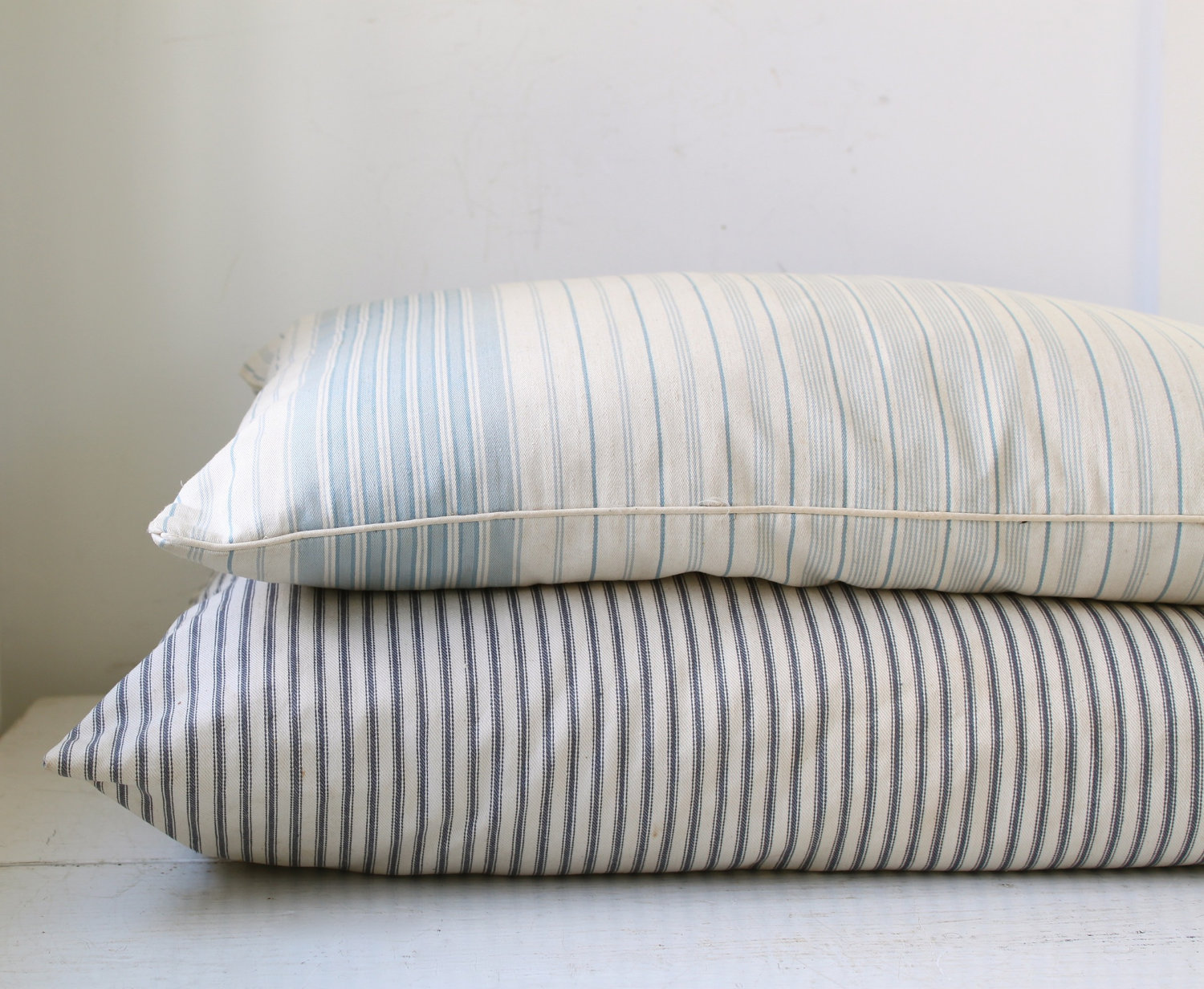 vintage 1950s farmhouse feather pillow with baby blue striped. Black Bedroom Furniture Sets. Home Design Ideas