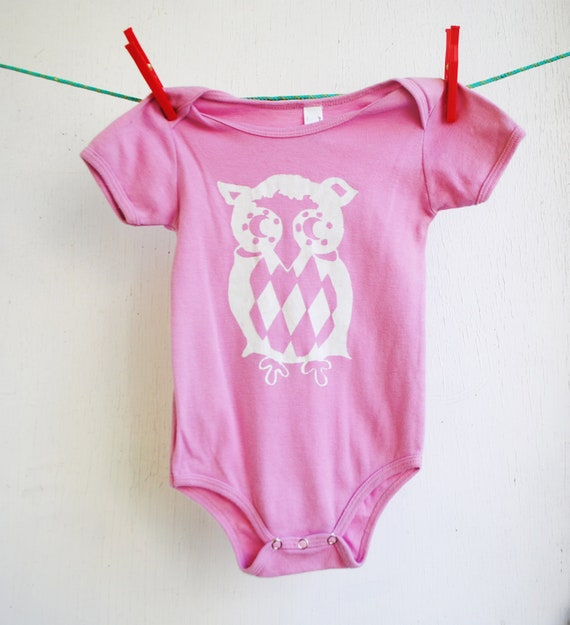 Owl Bodysuit.  Organic. 12 month.  Short Sleeved. Pink.  Sale.