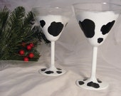 cow print martini glasses - set of 2