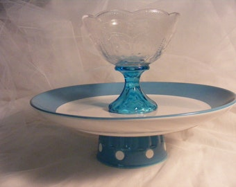 aqua cake or cupcake stand with removeable bowl for use as chip and dip plate