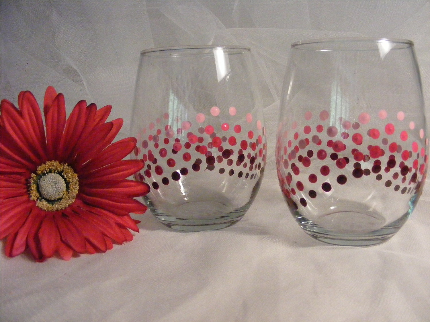 Hand painted wine glasses stemless with pink polka dots great for Baltimore glassware decorators